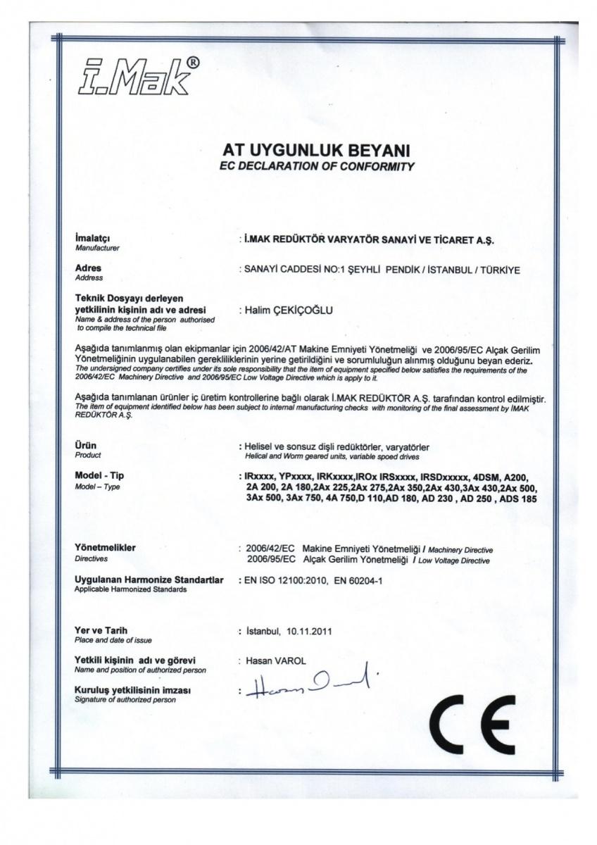 Сертификат CE - I.Mak