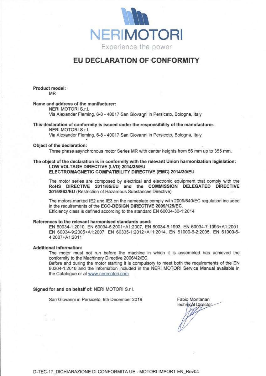 Сертификат CE - Neri Motori